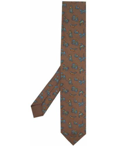 Brązowy krawat z jedwabiu z printem Hermes
