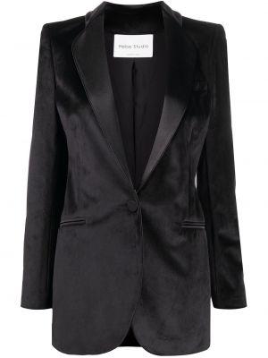 Черный удлиненный пиджак на пуговицах с вырезом Hebe Studio