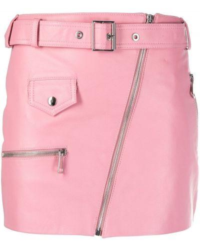 Розовая кожаная юбка на молнии Manokhi