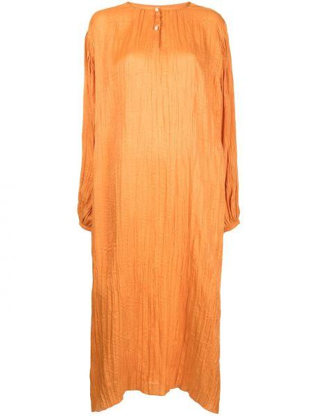 Расклешенное оранжевое платье миди с вырезом Bambah