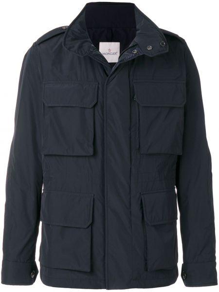 Niebieska długa kurtka z długimi rękawami Moncler