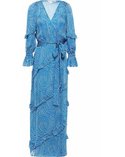 Niebieska satynowa sukienka długa kopertowa Rhode