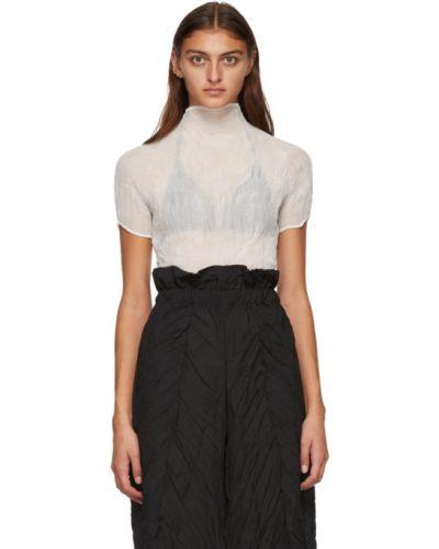 Белая плиссированная шифоновая блузка с коротким рукавом с воротником Issey Miyake