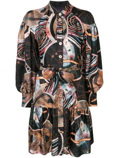 Шелковое с рукавами черное платье макси Ginger & Smart