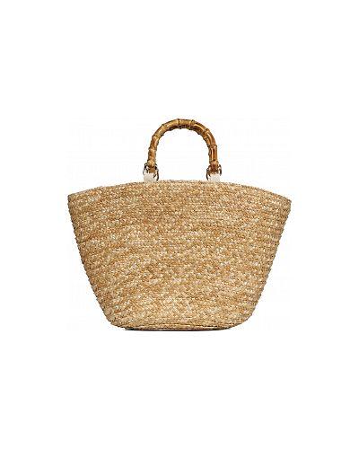 Соломенная пляжная бежевая сумка каляев