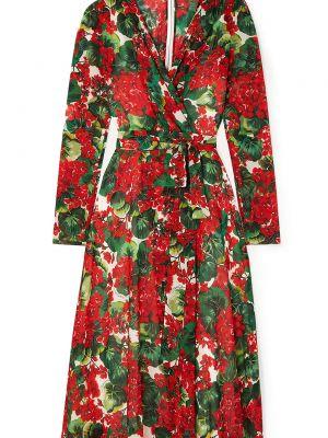 Шифоновое платье с драпировкой на крючках Dolce & Gabbana