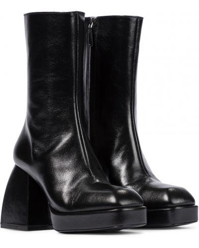 Czarne ankle boots skorzane vintage Nodaleto