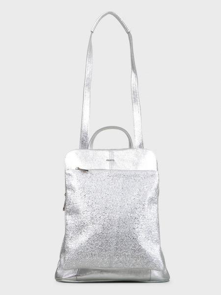Серебряный кожаный рюкзак на молнии Nila & Nila