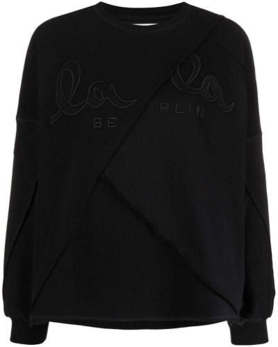 Хлопковая черная толстовка с вышивкой Lala Berlin