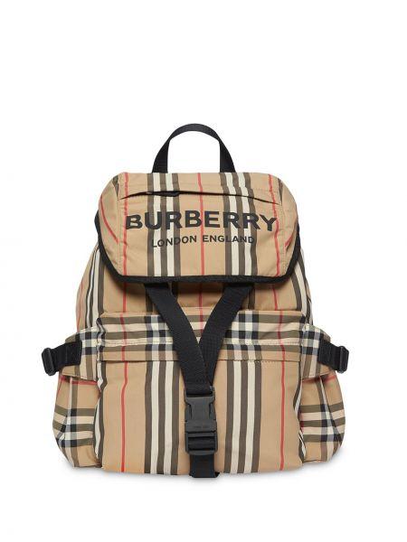 Skórzany plecak beżowy z paskami Burberry