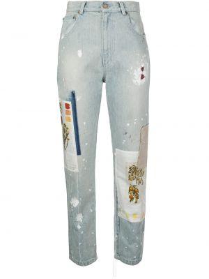 Хлопковые синие прямые джинсы с карманами на пуговицах Monse
