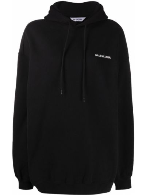 Bawełna czarny bluza z kapturem przeoczenie z kapturem Balenciaga