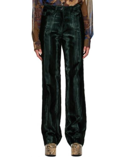 Зеленые брючные брюки с карманами из вискозы Dries Van Noten