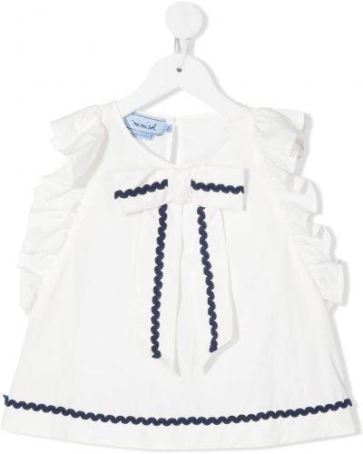 Белая блузка с вырезом на пуговицах Mi Mi Sol