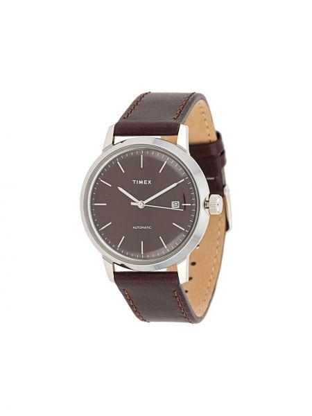 Zegarek na skórzanym pasku skórzany - czerwony Timex