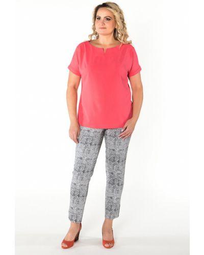 Блузка с коротким рукавом с кокеткой коралловый Virgi Style