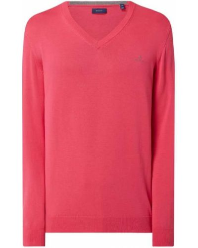 Różowy sweter bawełniany z dekoltem w serek Gant