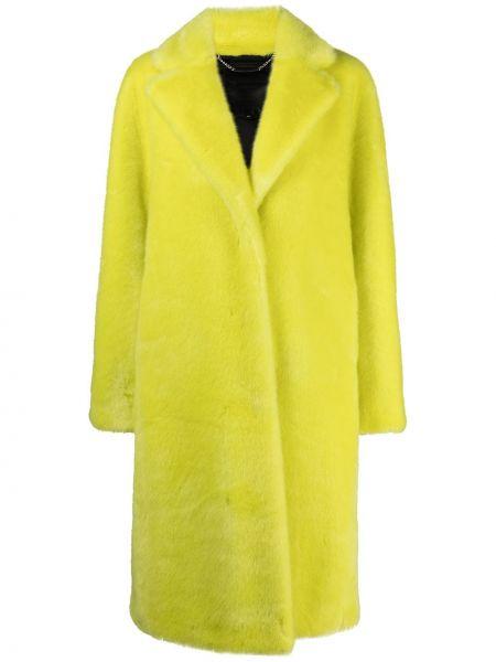 Żółty długi płaszcz pikowany z jedwabiu Philipp Plein