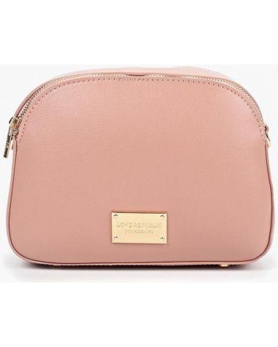 Кожаная сумка через плечо розовый Love Republic