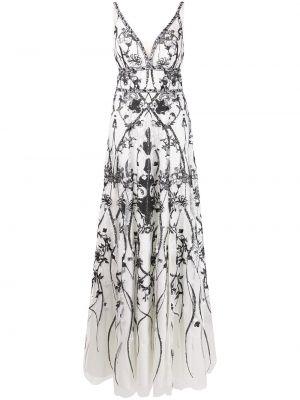 Вечернее платье с бисером - белое Marchesa Notte