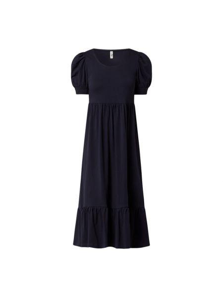 Niebieska sukienka mini rozkloszowana z falbanami Only