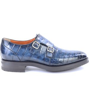 Синие туфли из крокодила с пряжкой Santoni