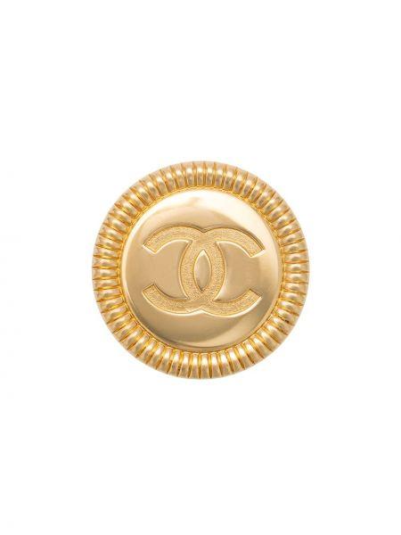 Желтый медальон винтажный позолоченный с пряжкой Chanel Pre-owned