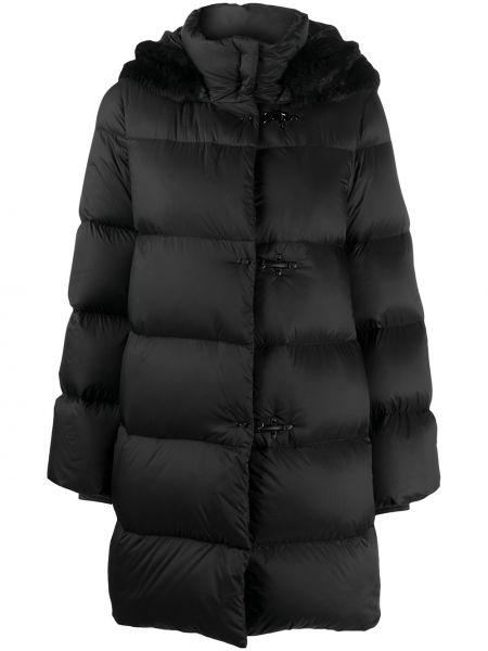 Акриловая черная длинная куртка с перьями с длинными рукавами Fay