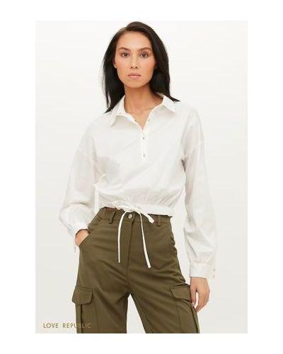 С рукавами белая блузка с завязками Love Republic