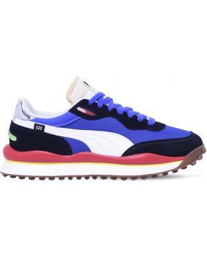 Niebieskie sneakersy sznurowane koronkowe Puma Select