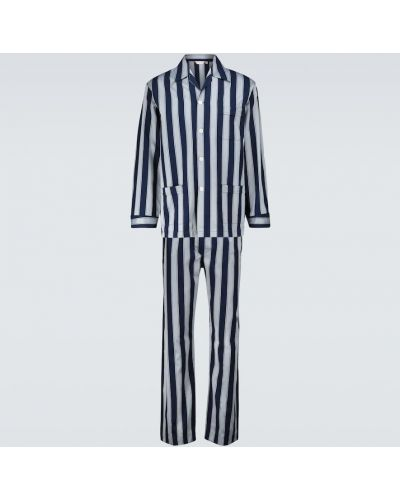Хлопковая пижама с рубашкой в полоску на пуговицах Derek Rose