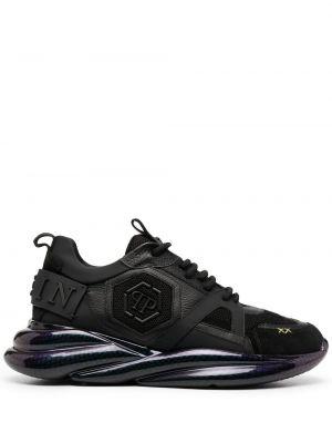 Кожаные черные кроссовки на шнурках Philipp Plein