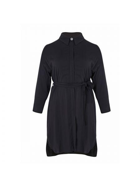 Черная приталенная туника с длинными рукавами мембранная оверсайз Mat Fashion