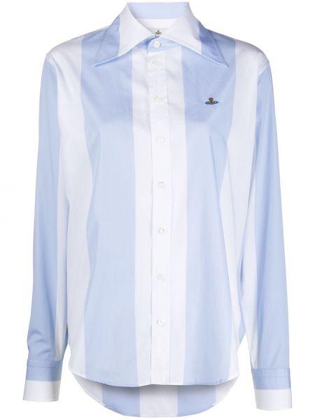 Синяя с рукавами классическая рубашка в полоску Vivienne Westwood