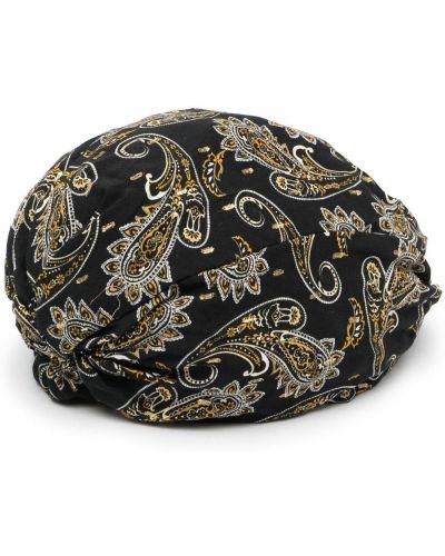 Czarny kapelusz z wiskozy z printem Pinko