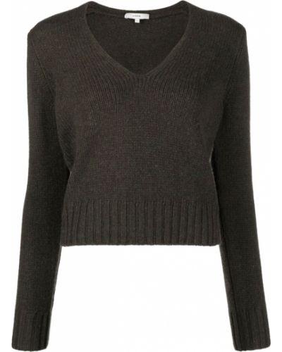 Czarny sweter z dekoltem w serek Vince