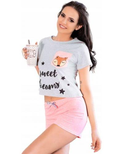 Różowa piżama bawełniana krótki rękaw Livia Corsetti