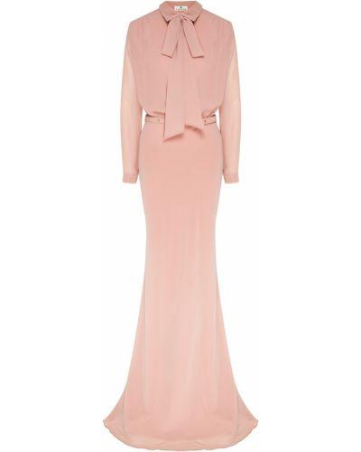 Розовое платье макси с поясом на пуговицах Laroom