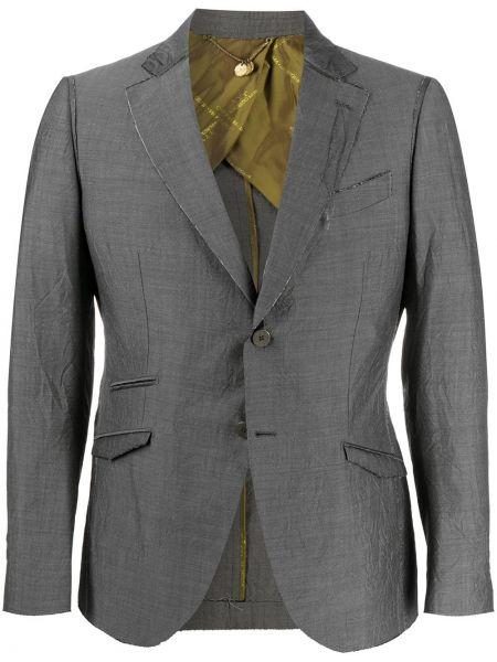 Серый шерстяной однобортный пиджак с карманами Maurizio Miri