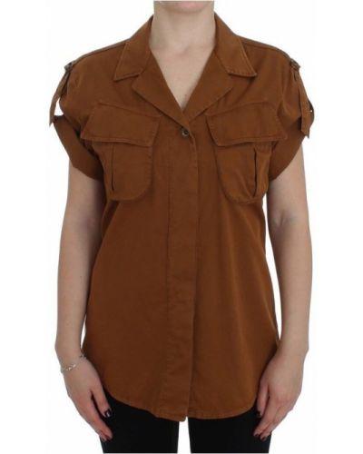 Pomarańczowa koszula krótki rękaw bawełniana Plein Sud