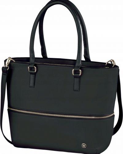 Czarna torebka duża skórzana Wenger