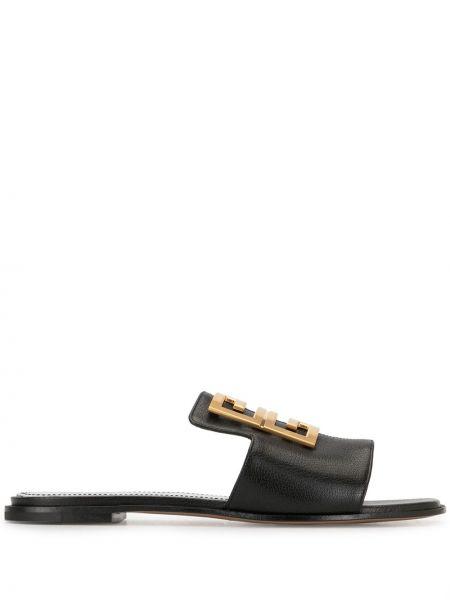Otwarty czarny sandały otwarty palec u nogi z prawdziwej skóry Givenchy