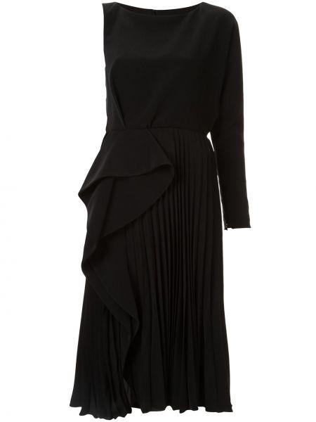 Черное платье миди на одно плечо с оборками с вырезом Azzi & Osta