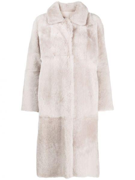 Серое однобортное пальто с воротником на пуговицах Arma