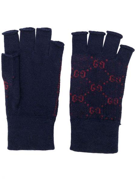 Prążkowane niebieskie rękawiczki bez palców wełniane Gucci