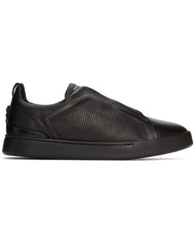 Кожаные черные кроссовки на каблуке с сеткой Ermenegildo Zegna