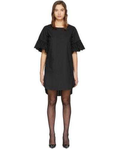 С рукавами черное платье с вышивкой с воротником See By Chloé