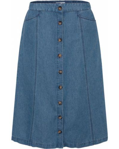 Хлопковая синяя джинсовая юбка на пуговицах Gerard Darel