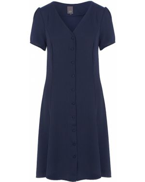 Платье на пуговицах синее Ichi