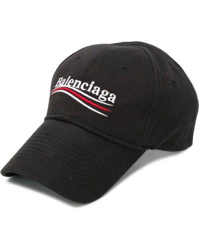 Czarna czapka z haftem bawełniana Balenciaga